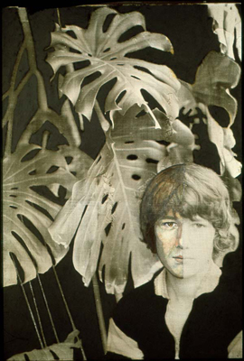 utermohlen-1977-plant and portrait simon rees-51x36cm-oil charcoal photo on canvas