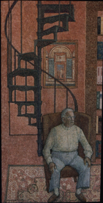 utermohlen-1984-dc in his studio-oil on canvas-186x84cm