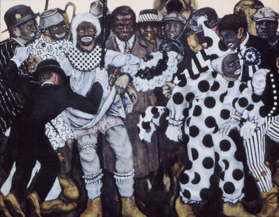 utermohlen-1970-mummers new years shooters and brass band-oil on canvas-106x137cm-gallery d eendt-71