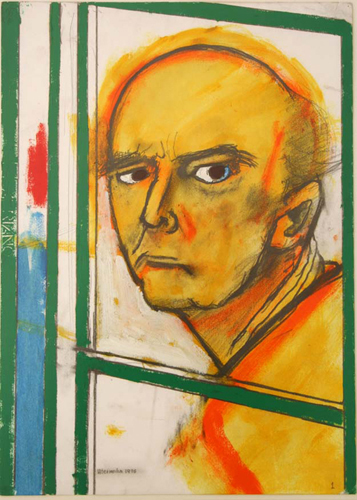 11-utermohlen-1996-self portrait with easel-yellow and green-46x35cm
